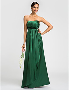 Dress Sheath / Column Strapless Floor-length Stretch Satin with Sash / Ribbon / Side Draping / Cascading Ruffles