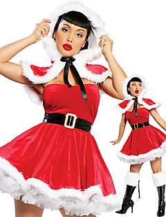 Cosplay Kostüme Santa Anzüge Fest/Feiertage Halloween Kostüme Kleid / Umhang / Gürtel Weihnachten / Silvester Frau Samt