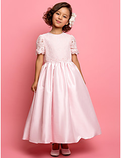 A-line/Princess Ankle-length Flower Girl Dress - Taffeta/Lace Short Sleeve