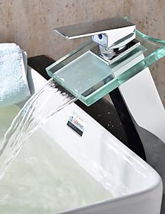 Moderne Bolleservant Foss with  Keramisk Ventil Enkelt Håndtak Et Hull for  Krom , Baderom Sink Tappekran