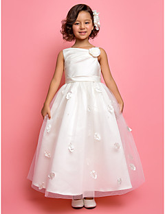 A-line / Princess Ankle-length Flower Girl Dress - Satin / Tulle Sleeveless One Shoulder withBeading / Flower(s) / Sash / Ribbon / Side