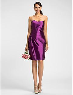 Dress - Grape Sheath/Column Sweetheart Knee-length Stretch Satin
