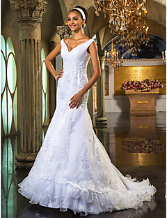Lan Ting Trumpet/Mermaid Plus Sizes Wedding Dress - White Court Train Off-the-shoulder Organza