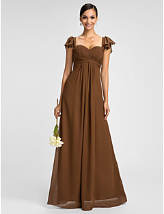 Lanting Dress - Brown Plus Sizes / Petite Sheath/Column Sweetheart / Spaghetti Straps Floor-length Chiffon