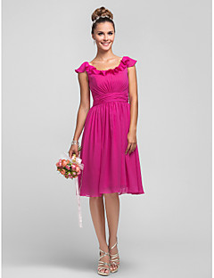 Lanting Bride® Knee-length Chiffon Bridesmaid Dress A-line / Princess Scoop Plus Size / Petite with Ruffles / Side Draping / Ruching
