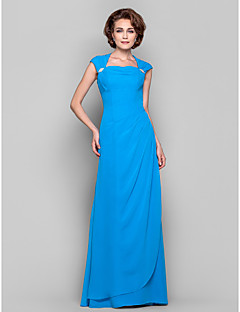 Dress - Ocean Blue Sheath/Column Cowl/Queen Anne Floor-length Chiffon