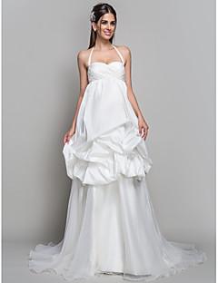 חתונה שמלה-קו / אורגנזה רכבת בית משפט קולר נסיכה, שמלת סאטן