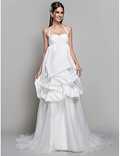 A-line/Princess Maternity Wedding Dress - Ivory Court Train Halter Satin/Organza