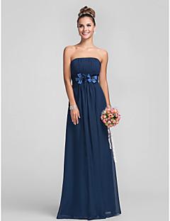 Floor-length Chiffon Bridesmaid Dress - Dark Navy Plus Sizes / Petite Sheath/Column Strapless