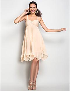 Dress - Champagne Plus Sizes / Petite Sheath/Column Spaghetti Straps Knee-length Chiffon