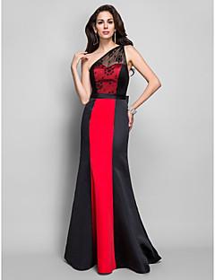 저녁 정장파티/밀리터리 볼 드레스 - 블랙 시스/컬럼 바닥 길이 원 숄더 사틴/레이스 플러스 사이즈