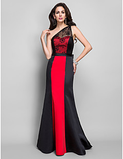 Formal Evening/Military Ball Dress - Black Plus Sizes Sheath/Column One Shoulder Floor-length Satin/Lace