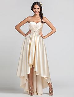 Lanting Bride® א-סימטרי סאטן נמתח שמלה לשושבינה - מעטפת \ עמוד מחשוף לב פלאס סייז (מידה גדולה) / פטיט עם חרוזים / תד נשפך / בד בהצלבה