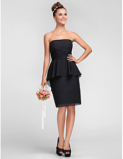 Homecoming Knee-length Chiffon Bridesmaid Dress - Black Plus Sizes Sheath/Column Strapless