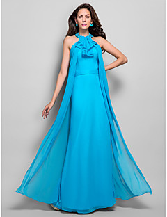 TS Couture Dress - Open Back Sheath / Column High Neck Floor-length Chiffon with Beading Sash / Ribbon Side Draping Cascading Ruffles