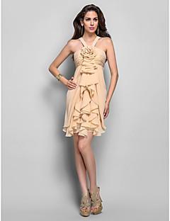 드레스 - 짧은 플러스 사이즈 / 미니 시스 / 칼럼 홀터 넥 숏 / 미니 쉬폰 와 플라워 / 루시 주름 장식 / 캐스케이드 주름장식