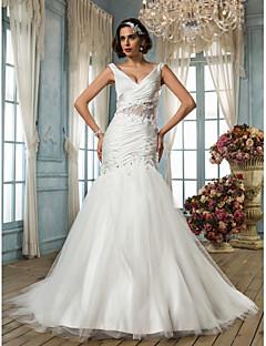 Lan Ting Fit & Flare Plus Sizes Wedding Dress - Ivory Court Train V-neck Satin Chiffon/Tulle