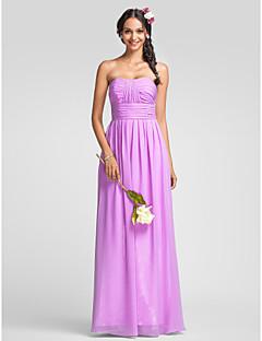 Lanting chiffon brudepige kjole gulv-længde - lilla plus størrelser / kort kappe / kolonne kæreste