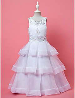 A-line / Ball Gown Ankle-length Flower Girl Dress - Organza Sleeveless Jewel with Appliques / Beading / Tiers
