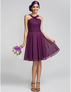 A-Line Princess Halter Knee Length Chiffon Bridesmaid Dress with Flower(s) Criss Cross Ruching by LAN TING BRIDE®
