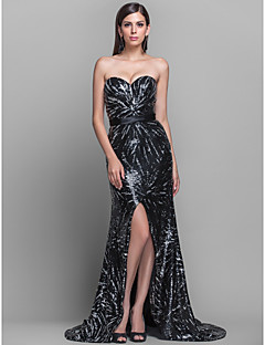 TS Couture® Formal Evening / Military Ball Dress - Furcal Plus Size / Petite Sheath / Column Strapless / Sweetheart Sweep / Brush Train Sequined