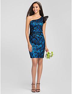Knee-length Lace / Stretch Satin Bridesmaid Dress - Ocean Blue Plus Sizes / Petite Sheath/Column One Shoulder