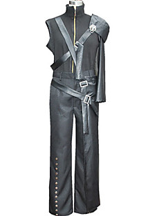 Inspireret af Final Fantasy Cloud Strife video Spil Cosplay Kostumer Cosplay Suits Patchwork SortJakke / Bukser / Skulder Beskytter /