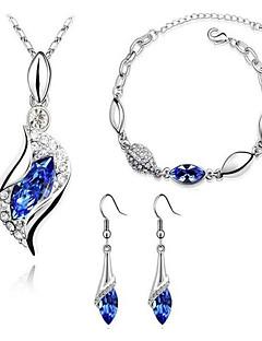 Mulheres Conjunto de Jóias Brincos Compridos Colares com Pendentes Pulseira Cristal Imitação de Diamante Básico Moda bijuterias Cristal