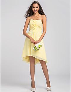 귀가 비대칭 / 무릎 길이 쉬폰 들러리 드레스 - 선화 플러스 줄 연인 크기