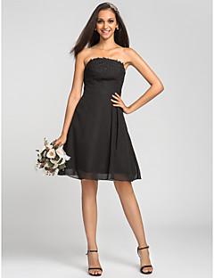 Lanting Knee-length Chiffon Bridesmaid Dress - Black Plus Sizes / Petite A-line Strapless