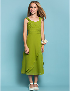 Tea-length Chiffon Junior Bridesmaid Dress Sheath / Column Straps Natural with Criss Cross / Ruching