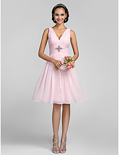 Knee-length Chiffon Bridesmaid Dress - Lace-up / Mini Me A-line / Princess V-neck Plus Size / Petite withCrystal Detailing / Side Draping