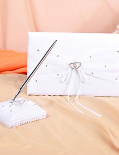 Hochzeit Gästebuch und Stift in weißem Satin mit Strass-Akzente setzen