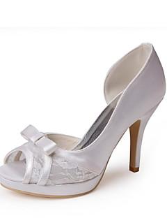 Women's Summer Peep Toe Satin / Stretch Satin Wedding Stiletto Heel Bowknot / Lace-up Ivory