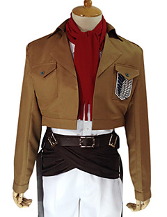 Inspirado por Attack on Titan Mikasa Ackermann Animé Disfraces de cosplay Trajes Cosplay Un Color Marrón Manga LargaAbrigo / Camisas /