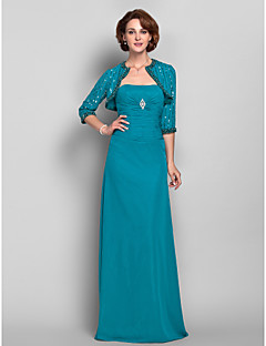 Lanting Sheath/Column Plus Sizes / Petite Mother of the Bride Dress - Jade Floor-length 3/4 Length Sleeve Chiffon