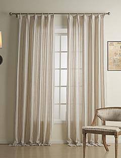(Two Panels) Classic Stripe Linen / Cotton Energy Saving Curtain