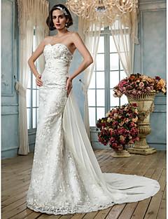 LAN TING BRIDE Havfrue Bryllupskjole - Klassisk og tidløs Elegant og luksuriøs Vintage Inspireret Svøpeslep Kjære Blonder Paljetter med