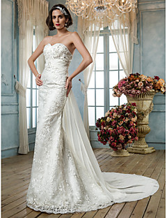 Lanting Bride® בתולת ים \ חצוצרה קטן / מידה גדולה שמלת כלה - קלסי ונצחי / אלגנטי ויוקרתי בהשפעת וינטאג' שובל סוויפ \ בראש מחשוף לבתחרה /