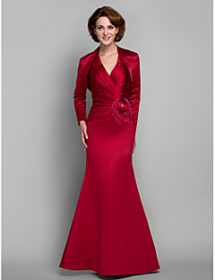 Trumpet/Mermaid Plus Sizes / Petite Mother of the Bride Dress - Ruby Floor-length Long Sleeve Satin