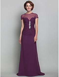 드레스 - 그레이프 시스/컬럼 스위프/브러쉬 트레인 보석 쉬폰/명주그물