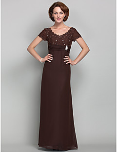 Lanting Sheath/Column V-neck Scalloped Floor-length Chiffon And Lace Mother of the Bride Dress (605564)