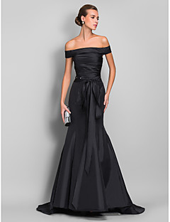 TS Couture® Formal Evening / Black Tie Gala Dress - Open Back Plus Size / Petite Trumpet / Mermaid Off-the-shoulder Sweep / Brush Train Taffeta