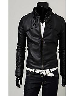 DAYD Pánské Anglie Style límec PU kožený kabát (Příslušenství styl, vzor, velikost, barva Random) (černá)