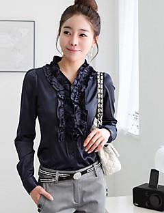Mulheres Camisa Formal Simples Todas as Estações,Sólido Azul / Branco Manga Longa Média