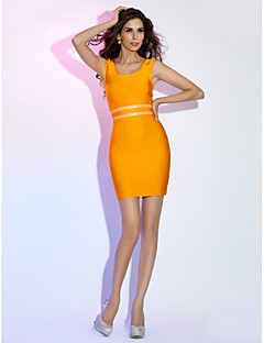 Cocktail Party/Holiday Dress - Orange Sheath/Column Scoop Short/Mini Rayon