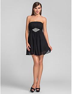 동창회 동창회 / 칵테일 파티 / 웨딩 파티 드레스는 블랙 - 플러스 라인 끈이 짧은 / 미니 쉬폰 크기