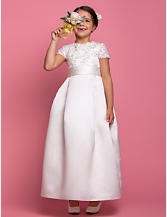 A-line Ankle-length Flower Girl Dress - Satin Short Sleeve Jewel with Beading / Draping / Lace / Sash / Ribbon