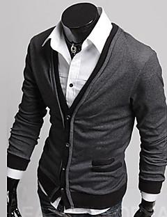 férfi V nyakú elütő színű csattal pulóverek kabát