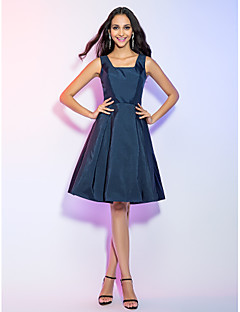 Homecoming Cocktail Party/Holiday Dress - Dark Navy Plus Sizes A-line Straps Knee-length Taffeta